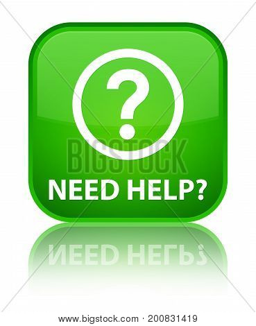 Need Help (question Icon) Special Green Square Button