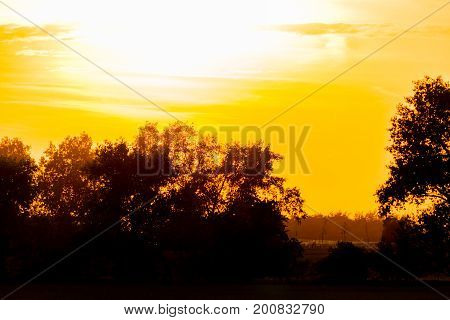 Yellow Sunset Above A Country