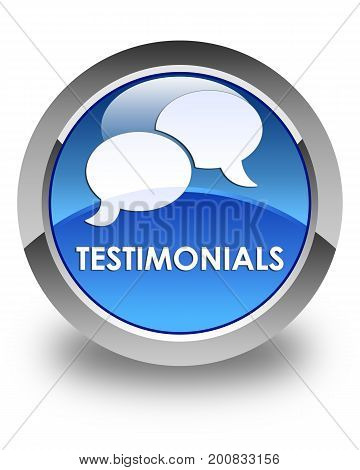 Testimonials (chat Icon) Glossy Blue Round Button