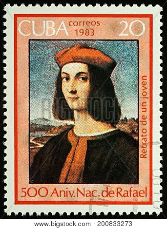 Moscow Russia - August 21 2017: A stamp printed in Cuba shows portrait of Pietro Bembo by Raphael (1483-1520) series