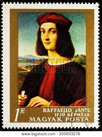 Moscow Russia - August 22 2017: A stamp printed in Hungary shows portrait of a Young Man by Raphael (1483-1520) series
