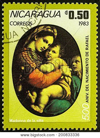 Moscow Russia - August 21 2017: A stamp printed in Nicaragua shows painting