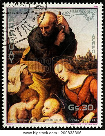 Moscow Russia - August 22 2017: A stamp printed in Paraguay shows painting
