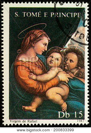 Moscow Russia - August 17 2017: A stamp printed in Sao Tome and Principe shows painting Madonna with Child by Raphael series
