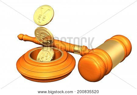 Law Concept Yes Currency Coins Dropping In A Hole 3D Illustration