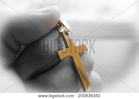 Golden Cross In Hand With Black & White High Quality