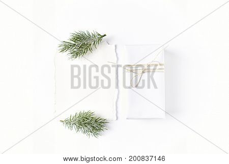 Christmas Gift and a White Paper Sheet