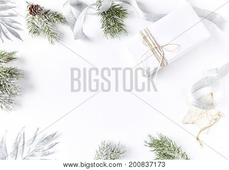 An Arrangement of Christmas Decorations and a Gift Box
