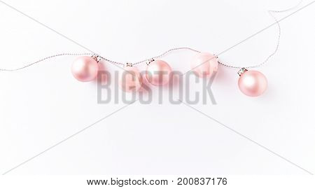 Pink Christmas Balls on a String