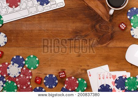 Poker gambling chips poster template. Casino background with cards, chips