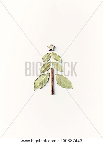 Christmas Tree made from Bay leaves and Cinnamon Stick