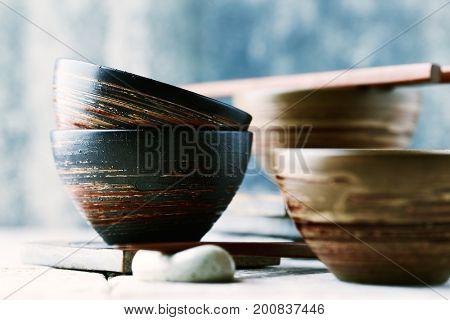 Wooden Chopsticks and ceramic Bowls