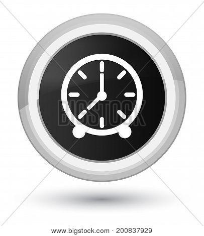 Clock Icon Prime Black Round Button