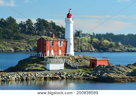Victoria BC,Canada,January 29th 2015.The Fisgard lighthouse at Fort Rodd Hill in Victoria makes for a great scenic landscape photo.Come and go inside the lighthouse and see howe the lighthouse keeper lived many years ago.Come Victoria welcomes you.
