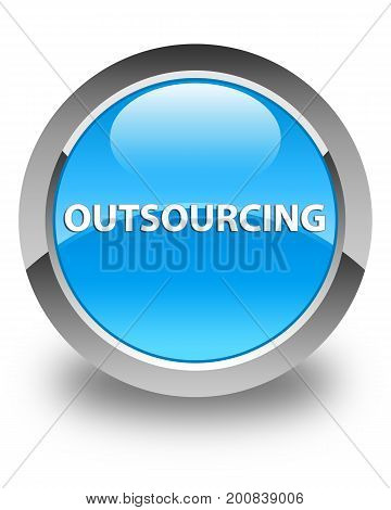Outsourcing Glossy Cyan Blue Round Button