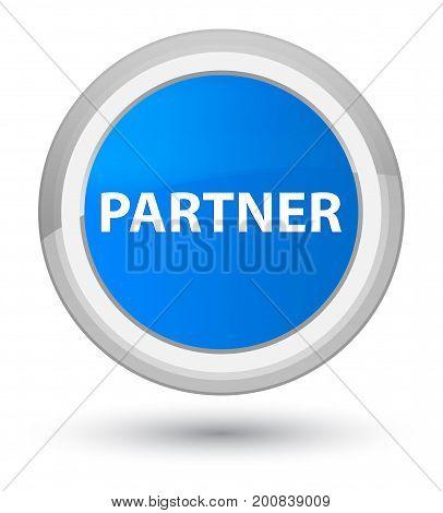 Partner Prime Cyan Blue Round Button
