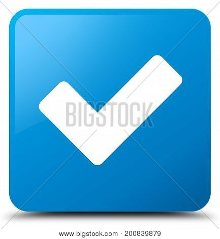 Validate Icon Cyan Blue Square Button