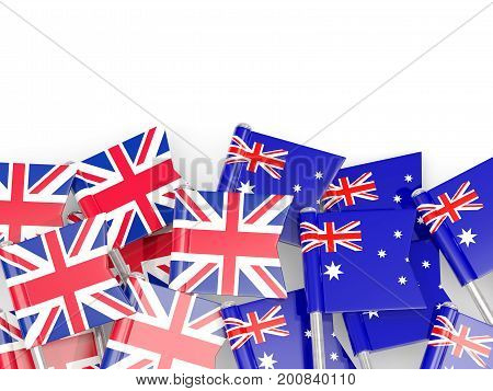 Flag Pins Of United Kingdom And Australia Isolated On White