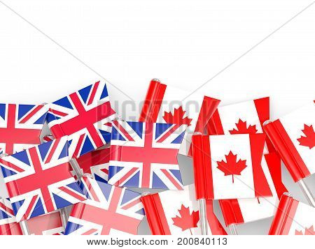 Flag Pins Of United Kingdom And Canada Isolated On White