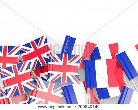 Flag Pins Of United Kingdom And France Isolated On White