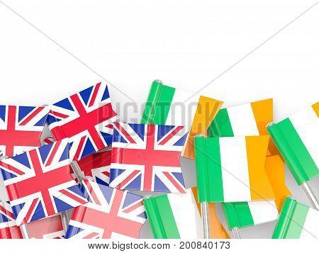 Flag Pins Of United Kingdom And Ireland Isolated On White