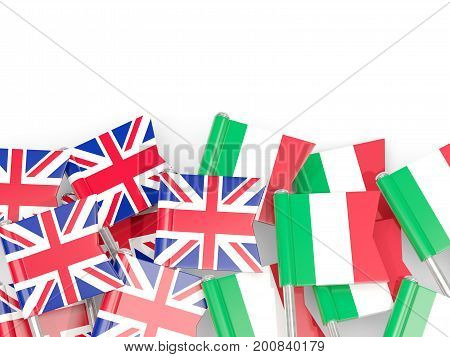 Flag Pins Of United Kingdom And Italy Isolated On White