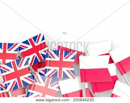 Flag Pins Of United Kingdom And Poland Isolated On White