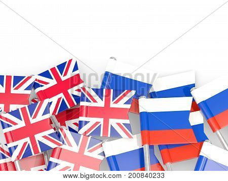 Flag Pins Of United Kingdom And Russia Isolated On White