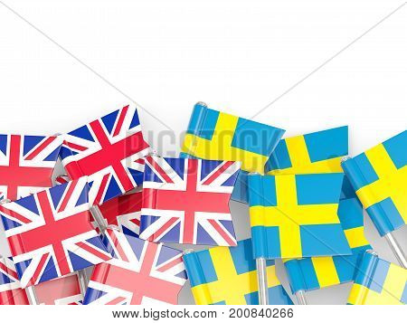 Flag Pins Of United Kingdom And Sweden Isolated On White