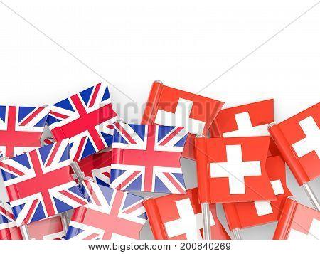 Flag Pins Of United Kingdom And Switzerland Isolated On White