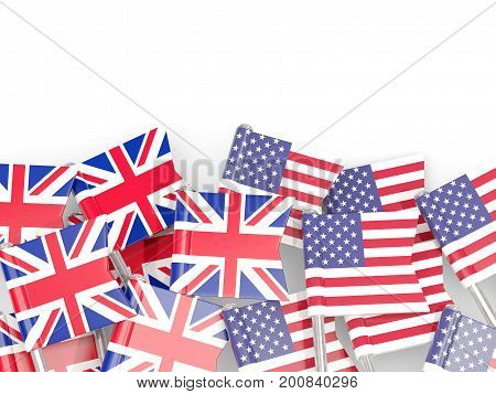 Flag Pins Of United Kingdom And Usa Isolated On White