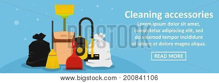 Cleaning accessories banner horizontal concept. Flat illustration of cleaning accessories banner horizontal vector concept for web