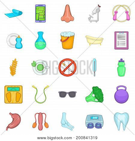 Personal physician icons set. Cartoon set of 25 personal physician vector icons for web isolated on white background