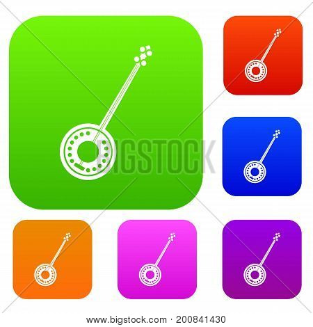 Banjo set icon in different colors isolated vector illustration. Premium collection