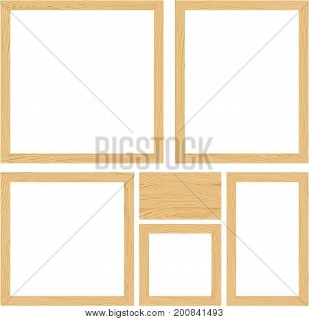 illustration of empty wood frames set and wooden board