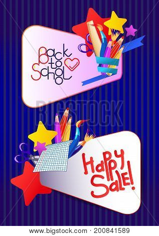 Back to school frames on blue background with stars. Vector illustration. Pop Art design. Education cartoon banner.