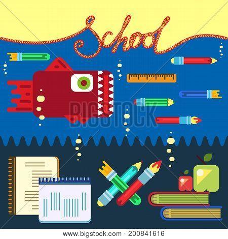 Geometric vector illustration for education concept poster in flat style design with office objects.