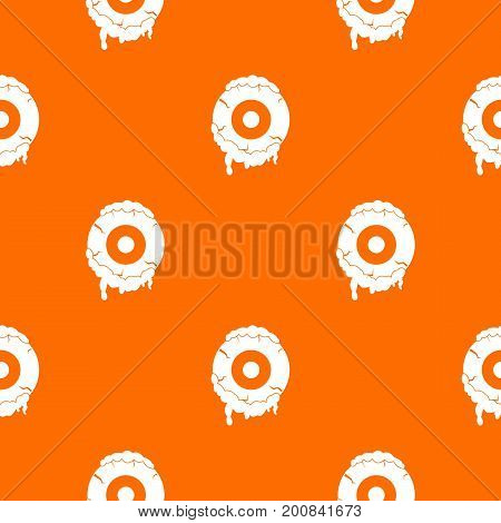 Scary eyeball pattern repeat seamless in orange color for any design. Vector geometric illustration