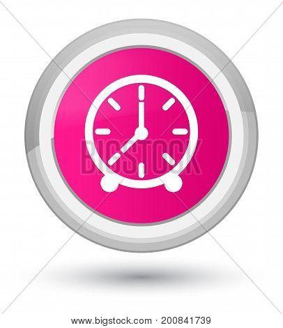 Clock Icon Prime Pink Round Button