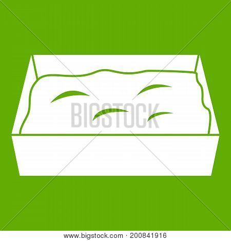Cat toilet icon white isolated on green background. Vector illustration