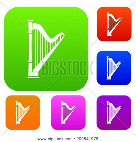 Harp set icon in different colors isolated vector illustration. Premium collection
