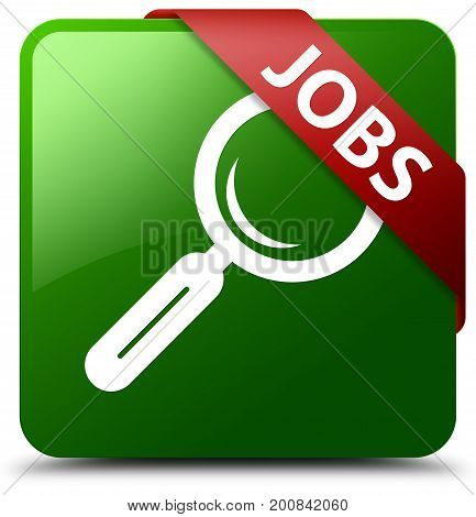 Jobs Green Square Button Red Ribbon In Corner