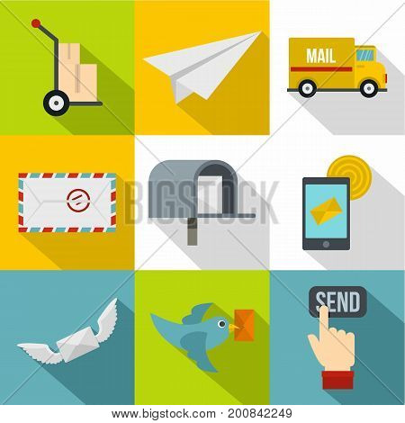 Cargo delivery icons set. Flat set of 9 cargo delivery vector icons for web isolated on white background