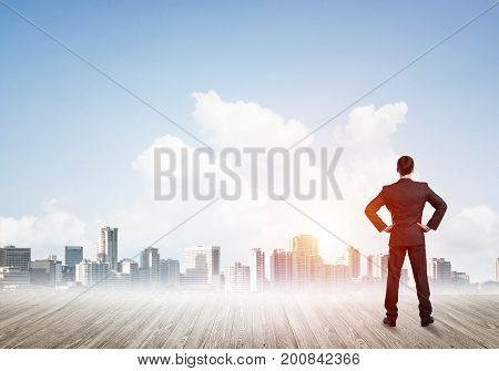 Businessman standing with back and looking at business cityscape