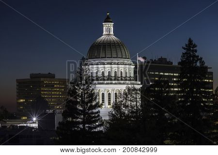 Night view of the California State Capitol in Sacramento.
