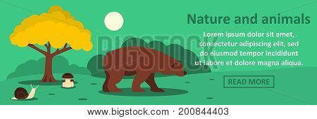 Nature and animals banner horizontal concept. Flat illustration of nature and animals banner horizontal vector concept for web