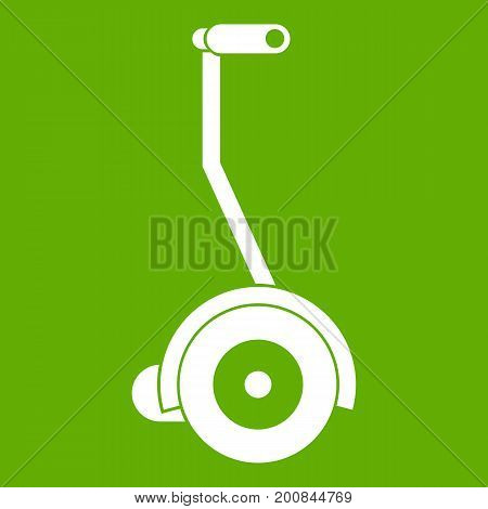 Electrical self balancing scooter icon white isolated on green background. Vector illustration