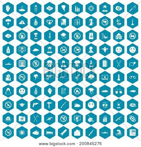 100 tension icons set in sapphirine hexagon isolated vector illustration