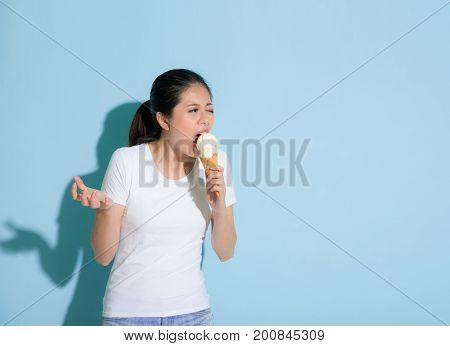 Girl Open Big Mouth Eating Vanilla Ice Cream