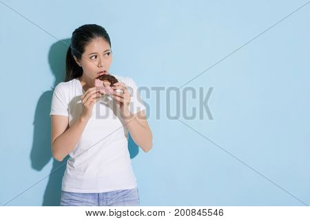Beautiful Female Model Looking At Empty Area